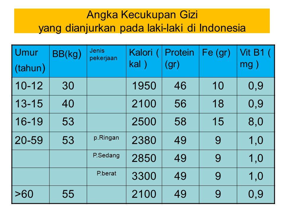 Angka Kecukupan Gizi yang dianjurkan pada laki-laki di Indonesia Umur (tahun ) BB(kg ) Jenis pekerjaan Kalori ( kal ) Protein (gr) Fe (gr)Vit B1 ( mg ) 10-1230195046100,9 13-1540210056180,9 16-1953250058158,0 20-5953 p.Ringan 23804991,0 P.Sedang 28504991,0 P.berat 33004991,0 >605521004990,9
