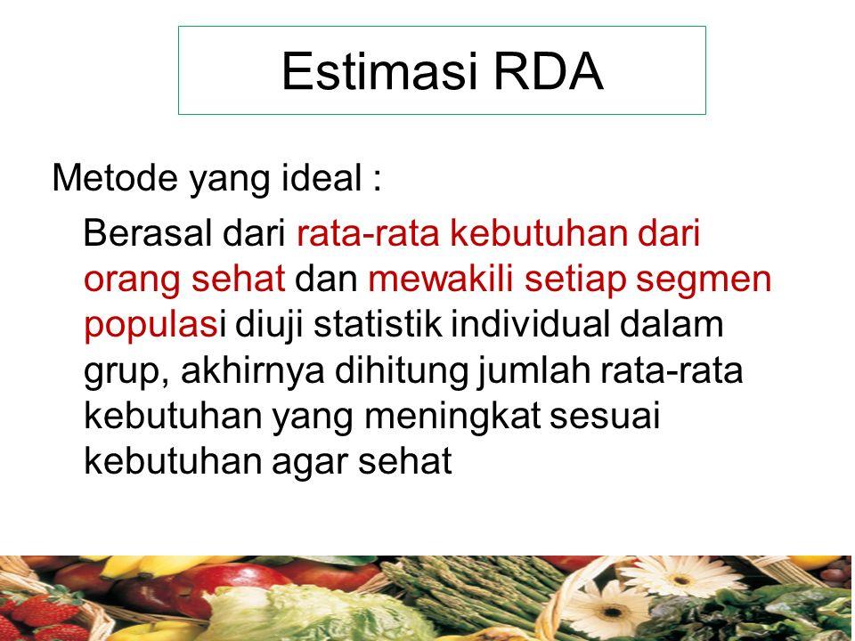Estimasi RDA Metode yang ideal : Berasal dari rata-rata kebutuhan dari orang sehat dan mewakili setiap segmen populasi diuji statistik individual dalam grup, akhirnya dihitung jumlah rata-rata kebutuhan yang meningkat sesuai kebutuhan agar sehat