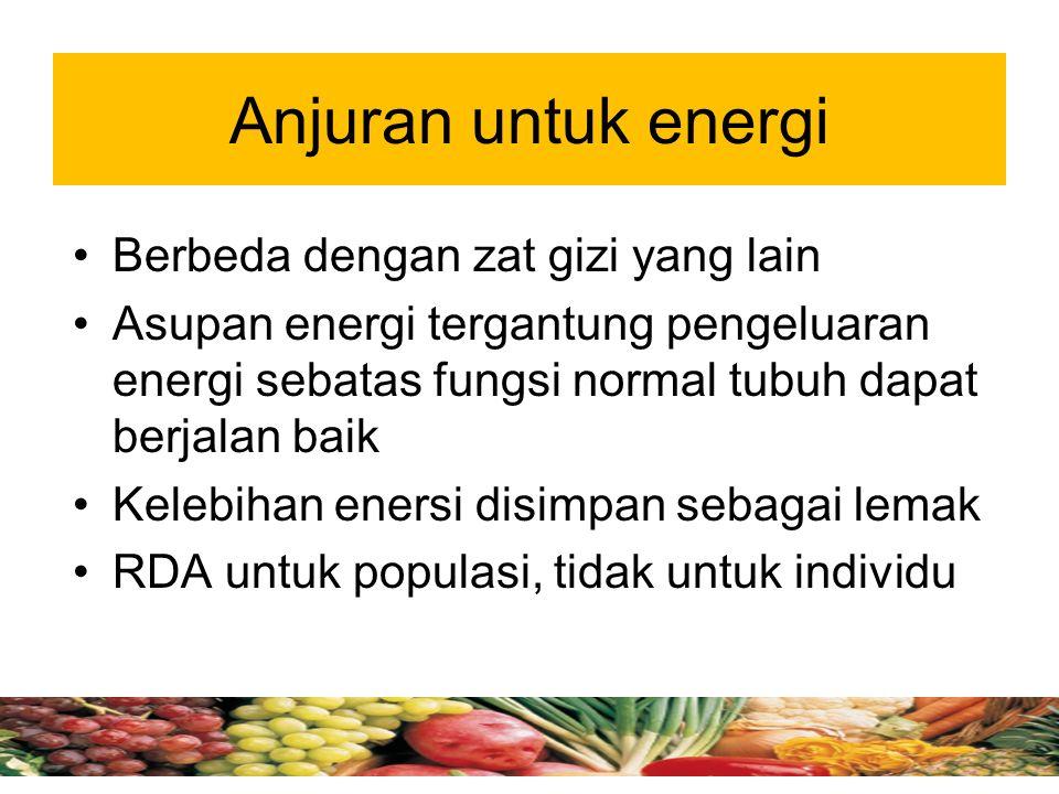 Anjuran untuk energi Berbeda dengan zat gizi yang lain Asupan energi tergantung pengeluaran energi sebatas fungsi normal tubuh dapat berjalan baik Kelebihan enersi disimpan sebagai lemak RDA untuk populasi, tidak untuk individu