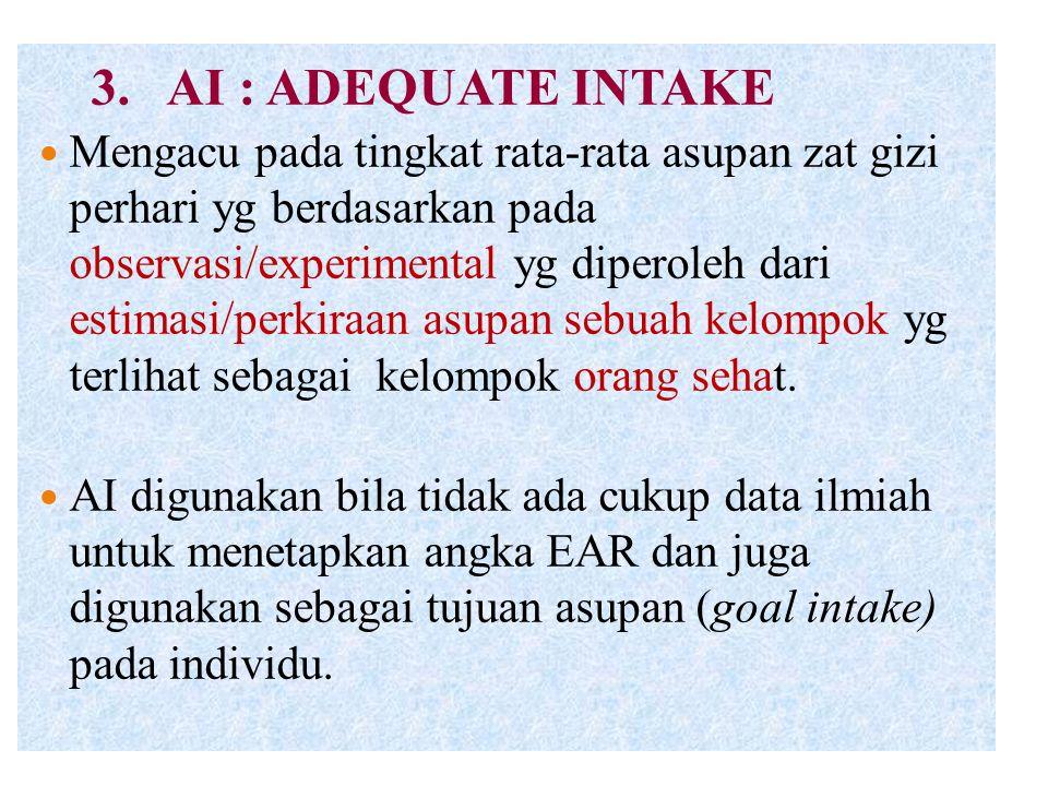 3. AI : ADEQUATE INTAKE Mengacu pada tingkat rata-rata asupan zat gizi perhari yg berdasarkan pada observasi/experimental yg diperoleh dari estimasi/p