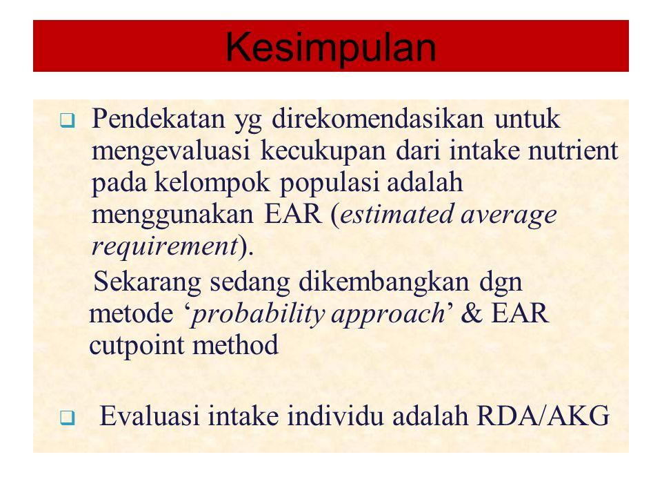 Kesimpulan  Pendekatan yg direkomendasikan untuk mengevaluasi kecukupan dari intake nutrient pada kelompok populasi adalah menggunakan EAR (estimated average requirement).