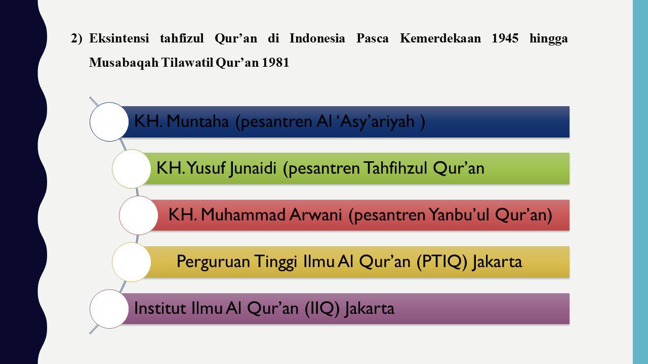 2)Eksintensi tahfizul Qur'an di Indonesia Pasca Kemerdekaan 1945 hingga Musabaqah Tilawatil Qur'an 1981 KH.