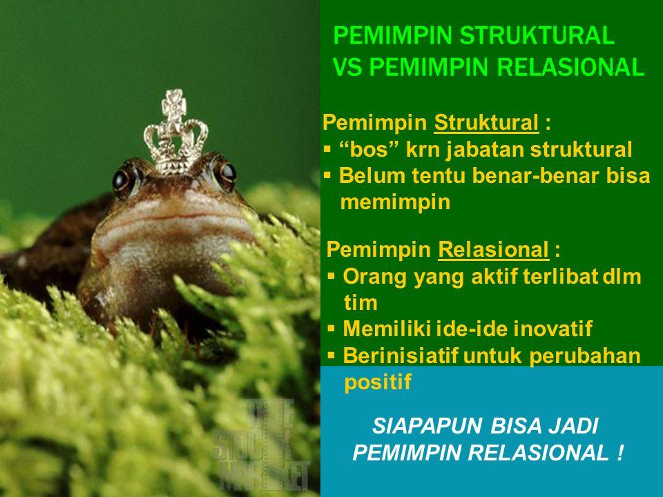 """PEMIMPIN STRUKTURAL VS PEMIMPIN RELASIONAL Pemimpin Struktural :  """"bos"""" krn jabatan struktural  Belum tentu benar-benar bisa memimpin Pemimpin Relas"""
