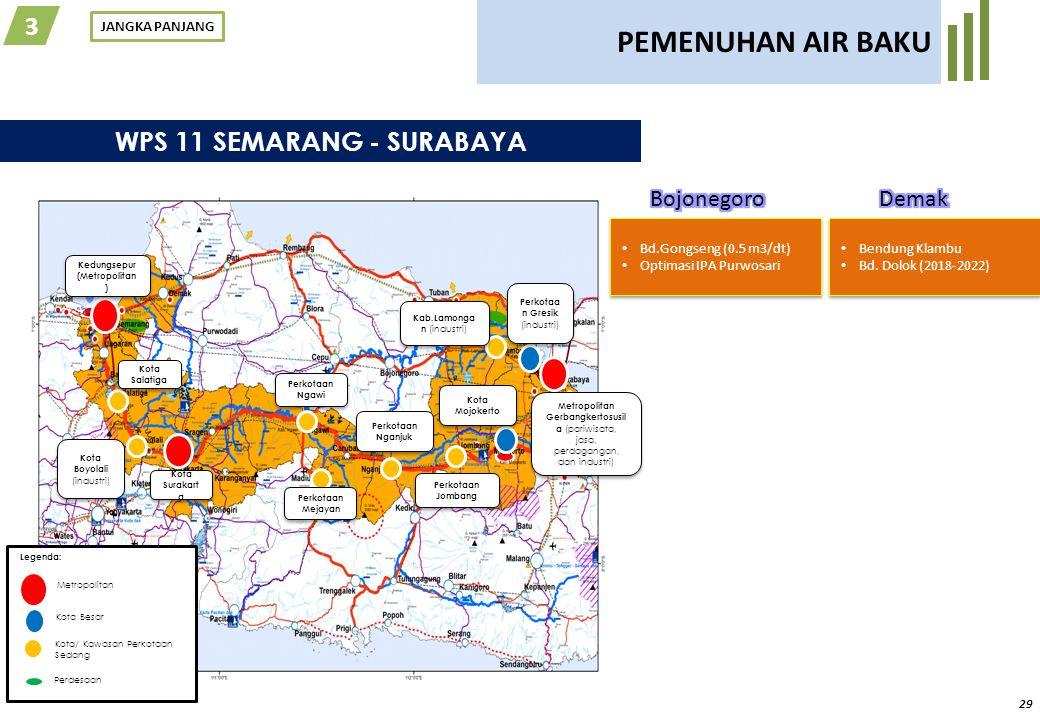 29 PEMENUHAN AIR BAKU JANGKA PANJANG 3 WPS 11 SEMARANG - SURABAYA Legenda: Metropolitan Kota Besar Kota/ Kawasan Perkotaan Sedang Perdesaan Kedungsepu