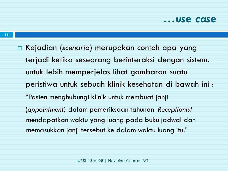 …use case  Kejadian (scenario) merupakan contoh apa yang terjadi ketika seseorang berinteraksi dengan sistem.