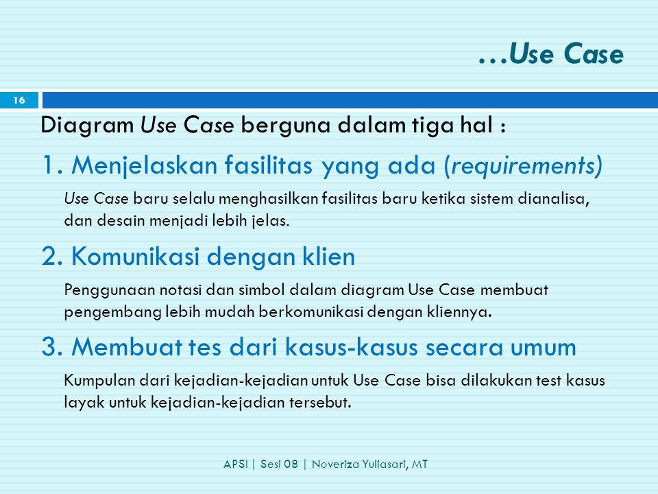 …Use Case Diagram Use Case berguna dalam tiga hal : 1.