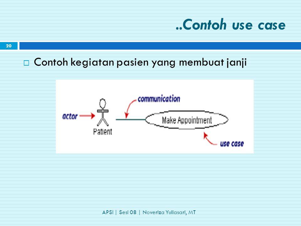 ..Contoh use case  Contoh kegiatan pasien yang membuat janji 20 APSI | Sesi 08 | Noveriza Yuliasari, MT
