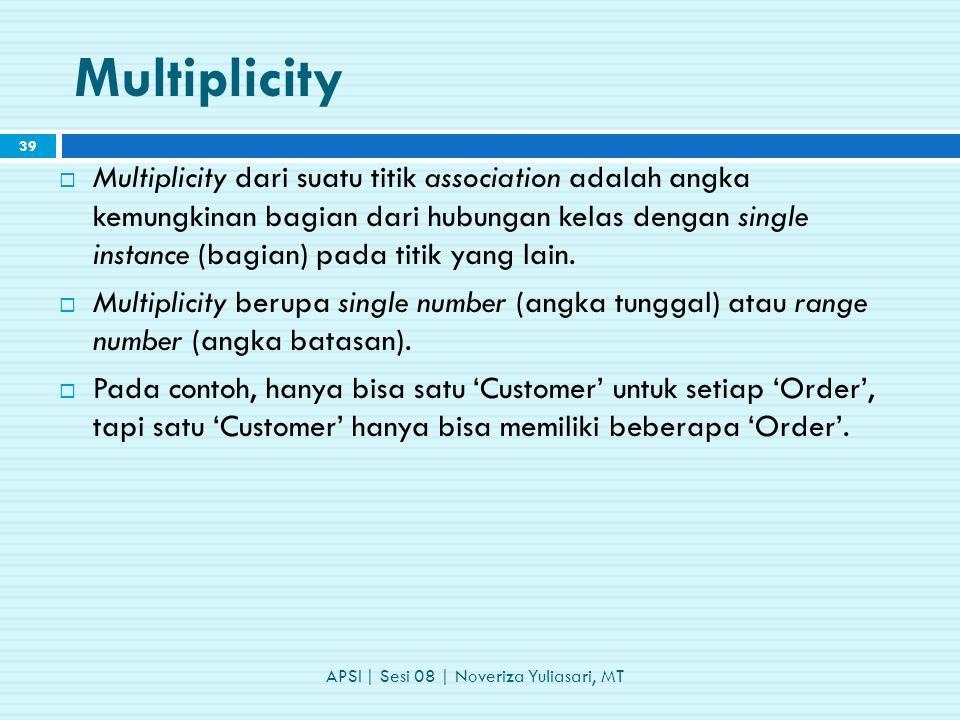Multiplicity  Multiplicity dari suatu titik association adalah angka kemungkinan bagian dari hubungan kelas dengan single instance (bagian) pada titik yang lain.