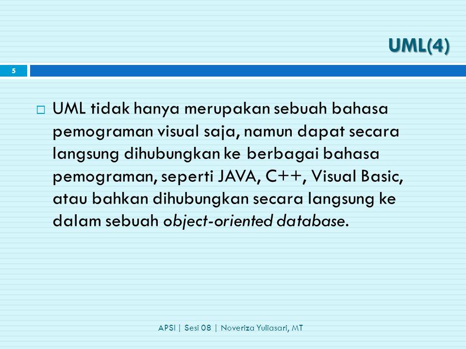  UML tidak hanya merupakan sebuah bahasa pemograman visual saja, namun dapat secara langsung dihubungkan ke berbagai bahasa pemograman, seperti JAVA, C++, Visual Basic, atau bahkan dihubungkan secara langsung ke dalam sebuah object-oriented database.