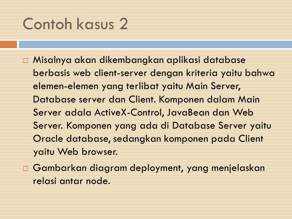 Contoh kasus 2  Misalnya akan dikembangkan aplikasi database berbasis web client-server dengan kriteria yaitu bahwa elemen-elemen yang terlibat yaitu Main Server, Database server dan Client.