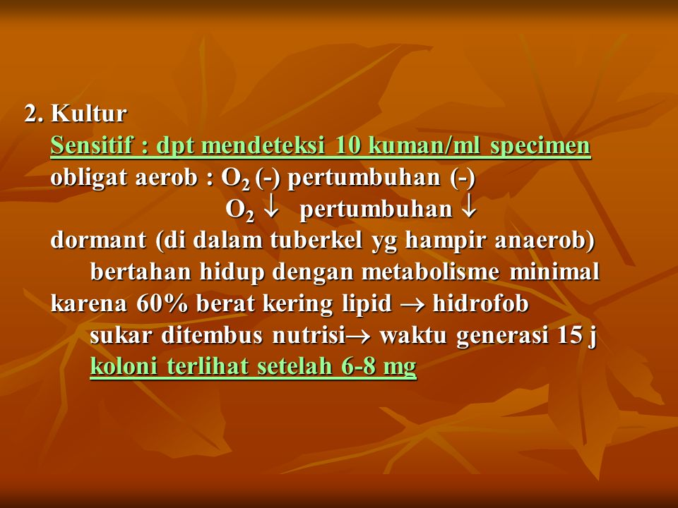 2. Kultur Sensitif : dpt mendeteksi 10 kuman/ml specimen obligat aerob : O 2 (-) pertumbuhan (-) O 2  pertumbuhan  dormant (di dalam tuberkel yg ham