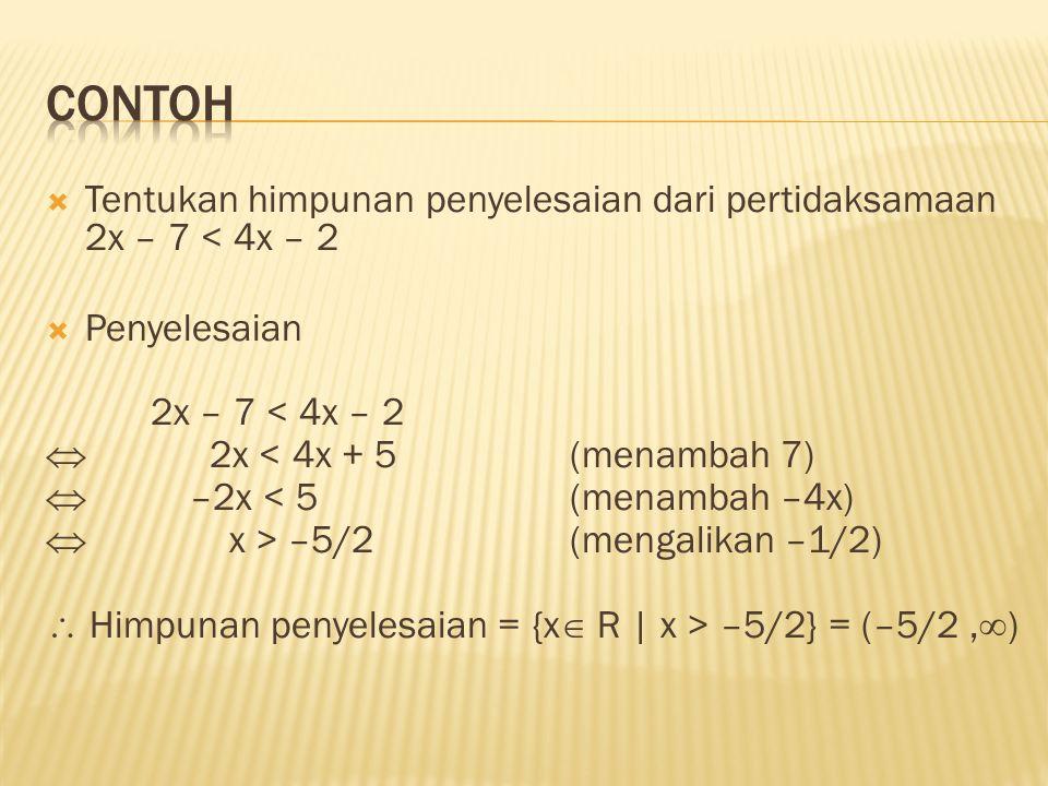  Tentukan himpunan penyelesaian dari pertidaksamaan 2x – 7 < 4x – 2  Penyelesaian 2x – 7 < 4x – 2  2x < 4x + 5(menambah 7)  –2x < 5(menambah –4x)
