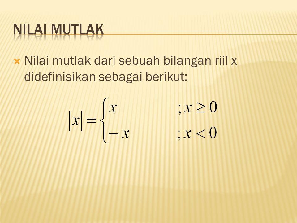  Nilai mutlak dari sebuah bilangan riil x didefinisikan sebagai berikut: