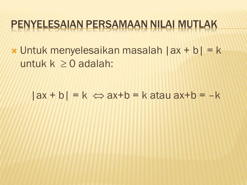  Tentukan himpunan penyelesaian dari pertidaksamaan –5  2x + 6 < 4  Penyelesaian –5  2x + 6 < 4  –11  2x < –2(menambah –6)  –11/2  x < –1 (mengalikan ½ )  Himpunan penyelesaian = {x  R | –11/2  x < –1 } = [–11/2, –1)