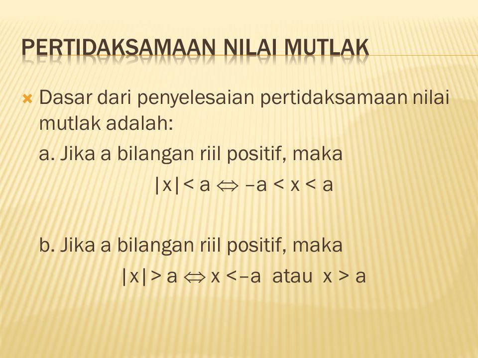  Selesaikan pertidaksamaan berikut: a.|3 – 2x| < 4 b.