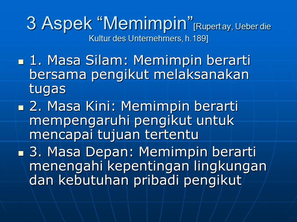 "3 Aspek ""Memimpin"" [Rupert ay, Ueber die Kultur des Unternehmers, h.189] 1. Masa Silam: Memimpin berarti bersama pengikut melaksanakan tugas 1. Masa S"