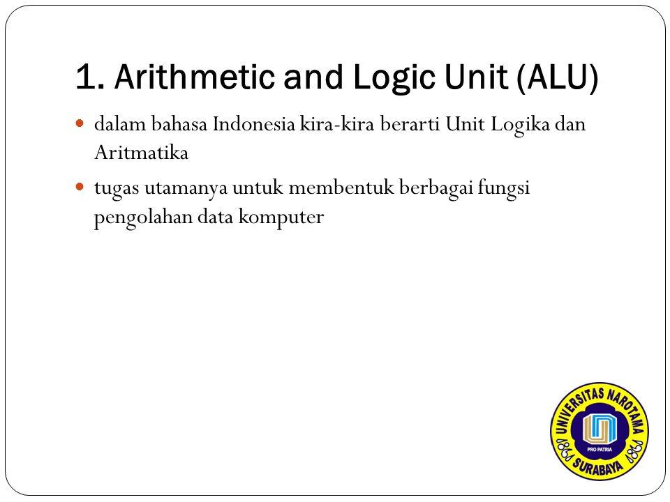 1. Arithmetic and Logic Unit (ALU) dalam bahasa Indonesia kira-kira berarti Unit Logika dan Aritmatika tugas utamanya untuk membentuk berbagai fungsi