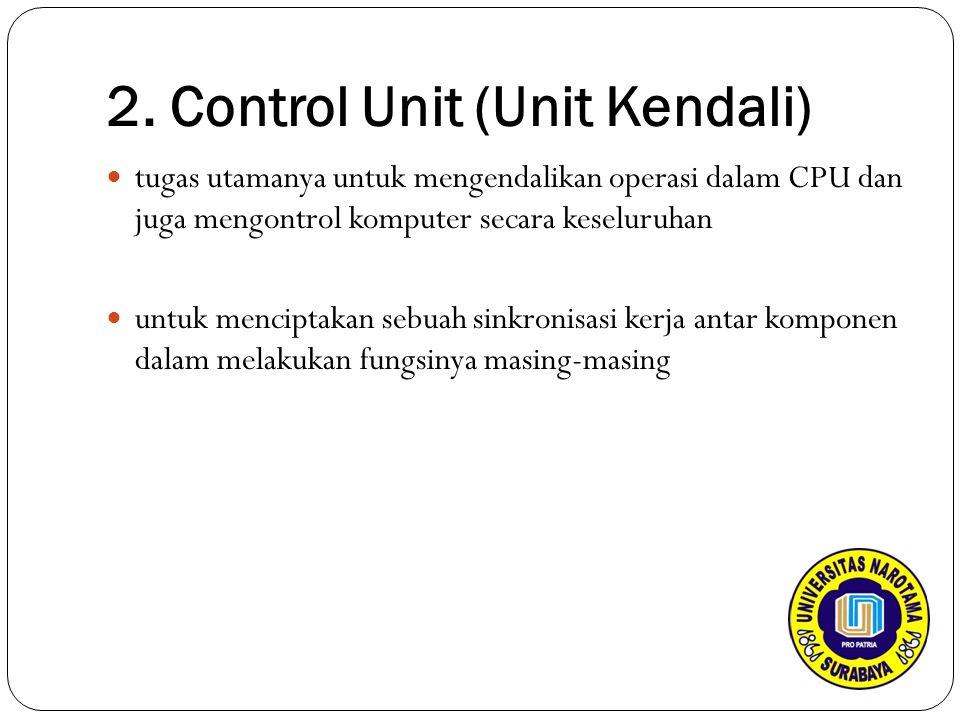 2. Control Unit (Unit Kendali) tugas utamanya untuk mengendalikan operasi dalam CPU dan juga mengontrol komputer secara keseluruhan untuk menciptakan