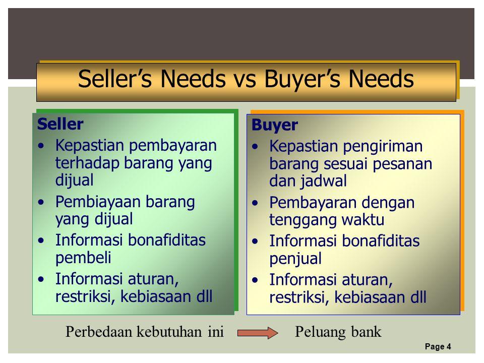 Page 4 Seller's Needs vs Buyer's Needs Seller Kepastian pembayaran terhadap barang yang dijual Pembiayaan barang yang dijual Informasi bonafiditas pembeli Informasi aturan, restriksi, kebiasaan dll Seller Kepastian pembayaran terhadap barang yang dijual Pembiayaan barang yang dijual Informasi bonafiditas pembeli Informasi aturan, restriksi, kebiasaan dll Buyer Kepastian pengiriman barang sesuai pesanan dan jadwal Pembayaran dengan tenggang waktu Informasi bonafiditas penjual Informasi aturan, restriksi, kebiasaan dll Buyer Kepastian pengiriman barang sesuai pesanan dan jadwal Pembayaran dengan tenggang waktu Informasi bonafiditas penjual Informasi aturan, restriksi, kebiasaan dll Peluang bankPerbedaan kebutuhan ini