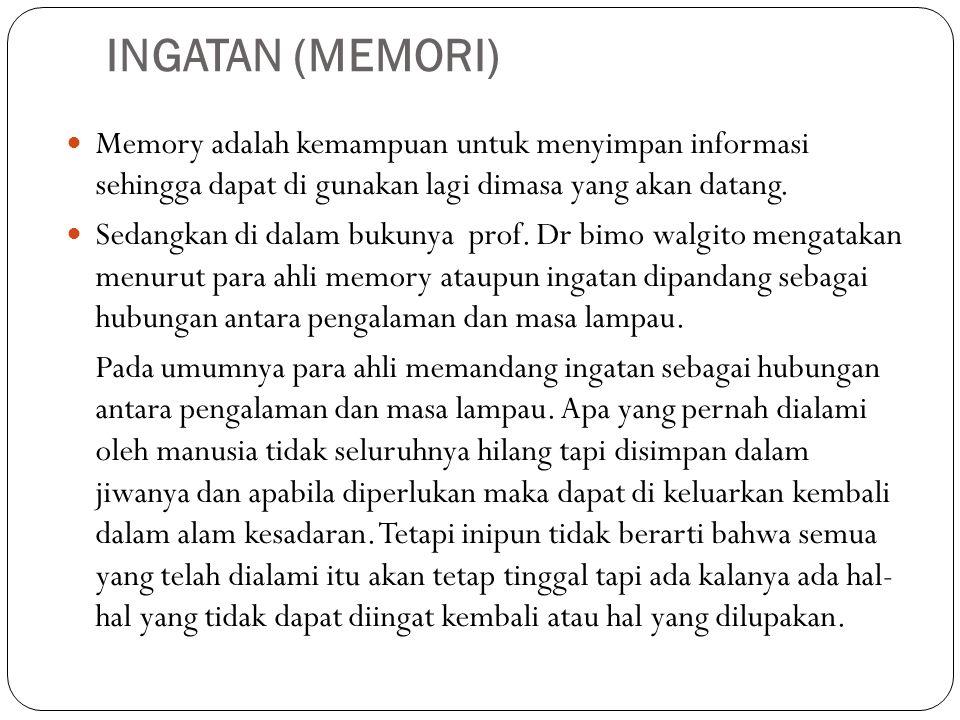 INGATAN (MEMORI) Memory adalah kemampuan untuk menyimpan informasi sehingga dapat di gunakan lagi dimasa yang akan datang.