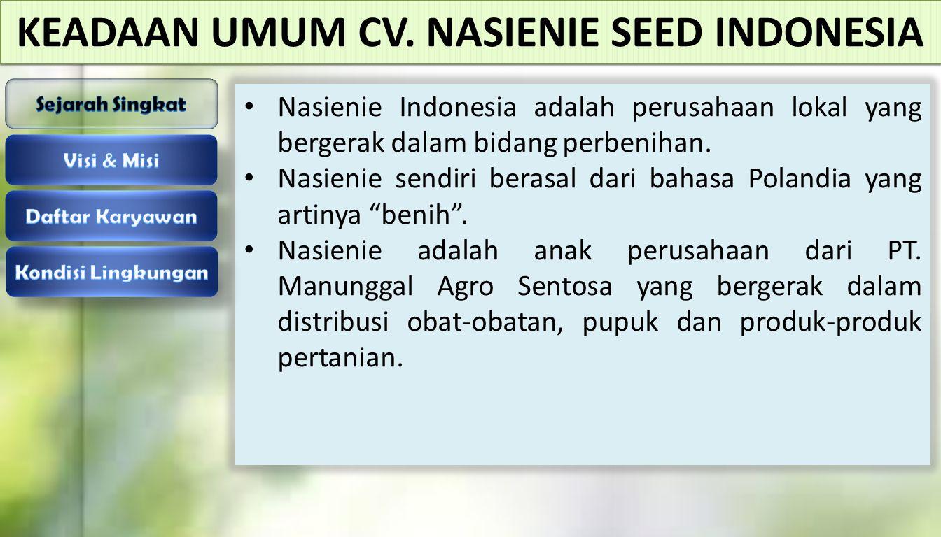 KEADAAN UMUM CV. NASIENIE SEED INDONESIA Nasienie Indonesia adalah perusahaan lokal yang bergerak dalam bidang perbenihan. Nasienie sendiri berasal da