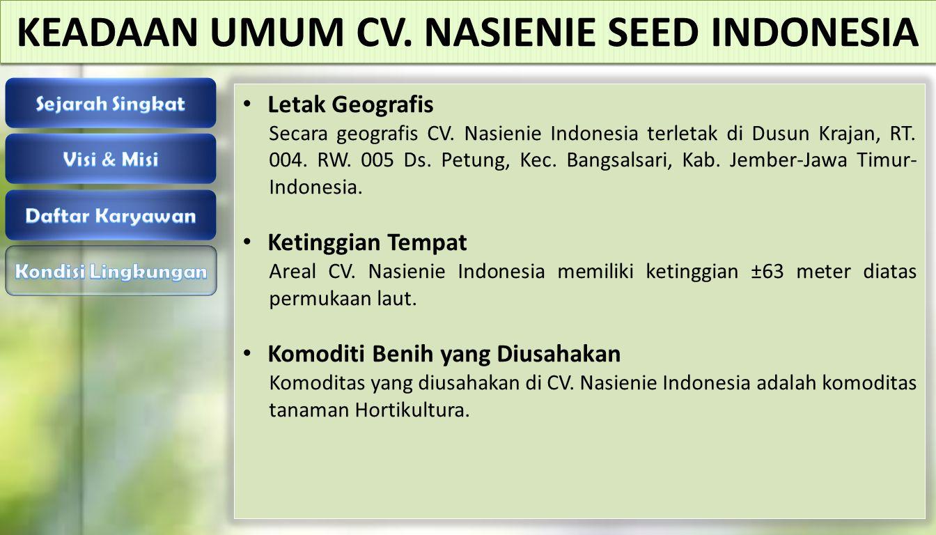 Letak Geografis Secara geografis CV. Nasienie Indonesia terletak di Dusun Krajan, RT. 004. RW. 005 Ds. Petung, Kec. Bangsalsari, Kab. Jember-Jawa Timu