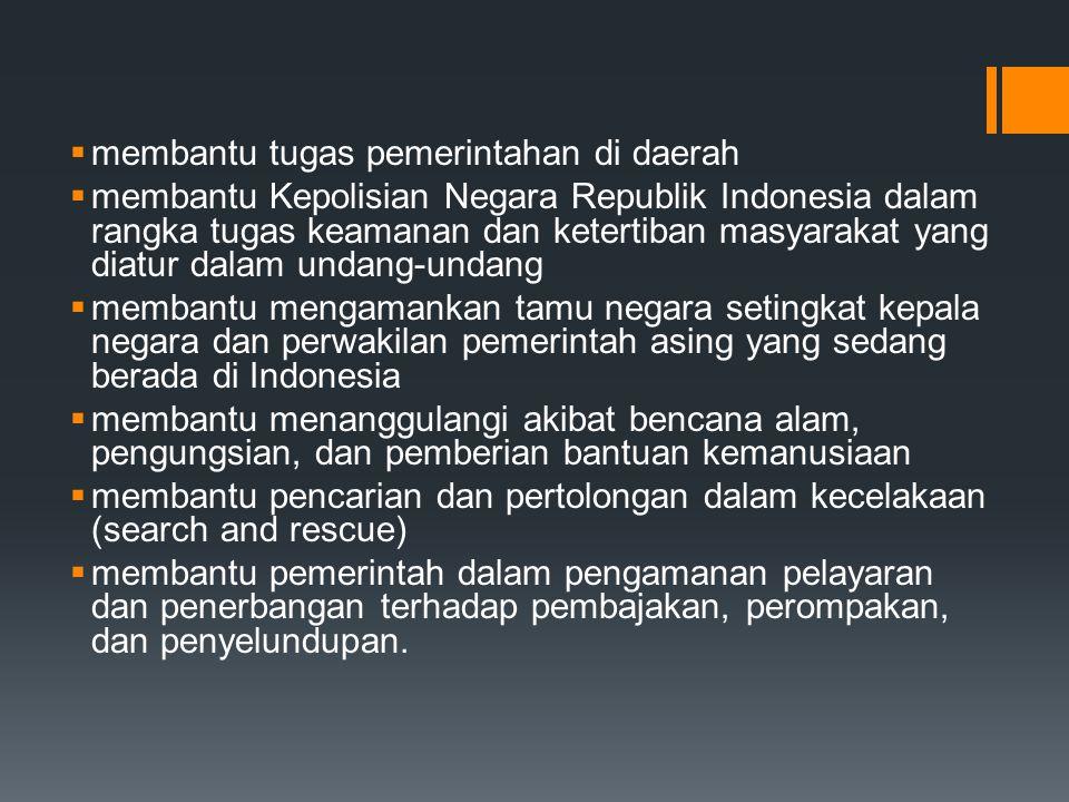  membantu tugas pemerintahan di daerah  membantu Kepolisian Negara Republik Indonesia dalam rangka tugas keamanan dan ketertiban masyarakat yang dia
