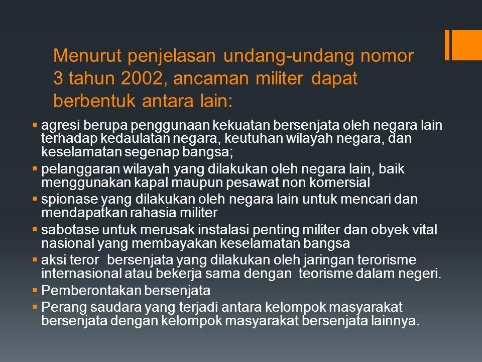 Menurut penjelasan undang-undang nomor 3 tahun 2002, ancaman militer dapat berbentuk antara lain:  agresi berupa penggunaan kekuatan bersenjata oleh