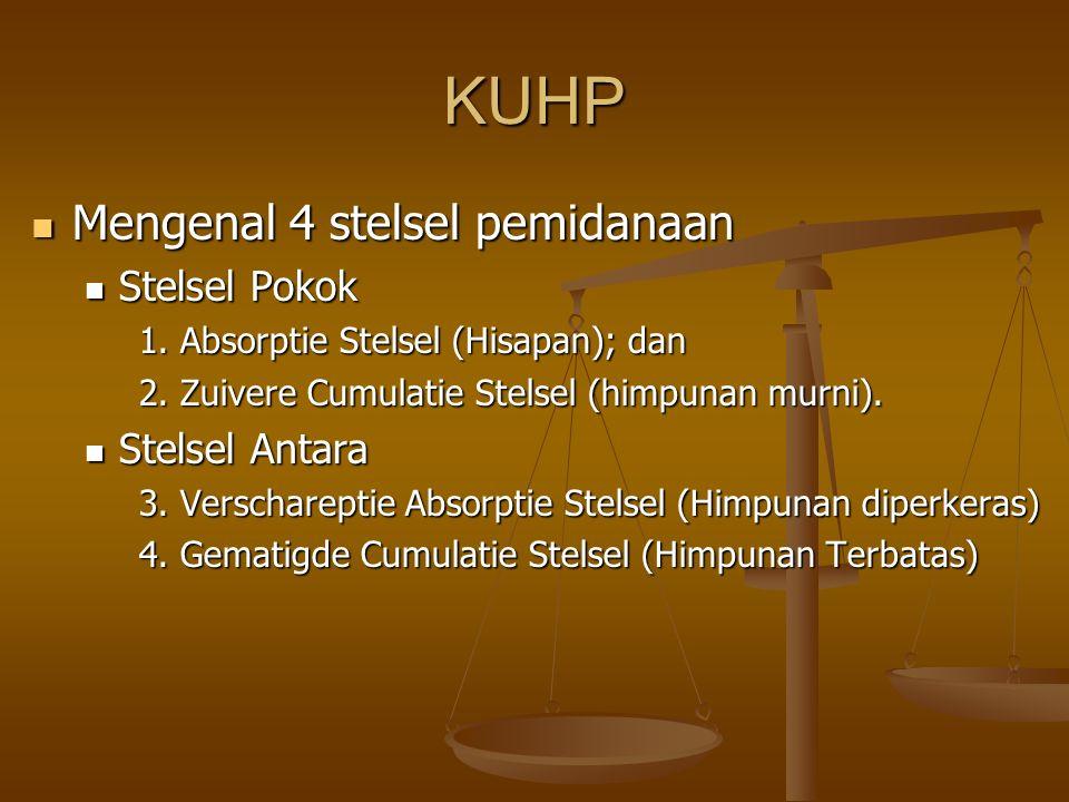 KUHP Mengenal 4 stelsel pemidanaan Mengenal 4 stelsel pemidanaan Stelsel Pokok Stelsel Pokok 1.