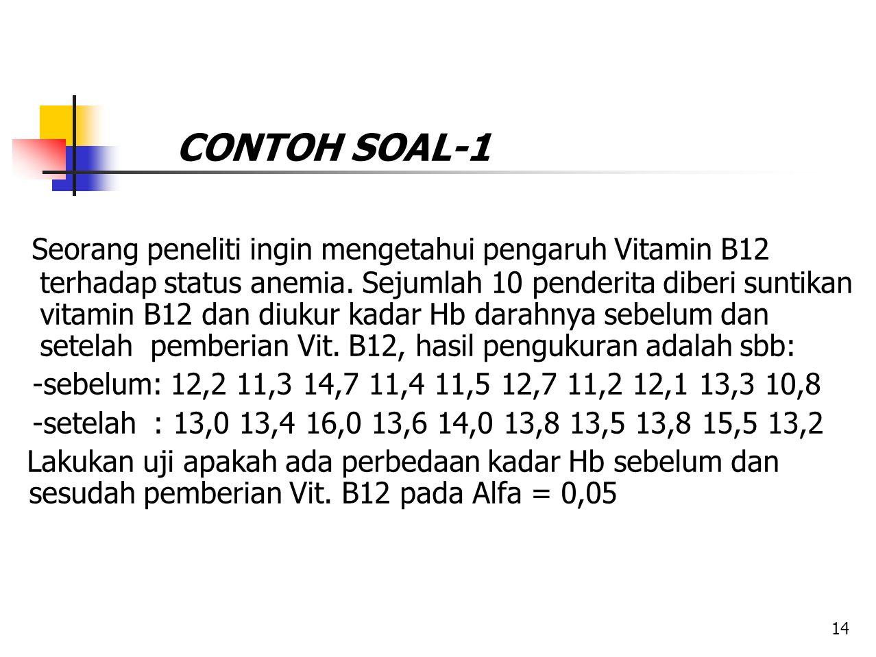 CONTOH SOAL-1 Seorang peneliti ingin mengetahui pengaruh Vitamin B12 terhadap status anemia. Sejumlah 10 penderita diberi suntikan vitamin B12 dan diu