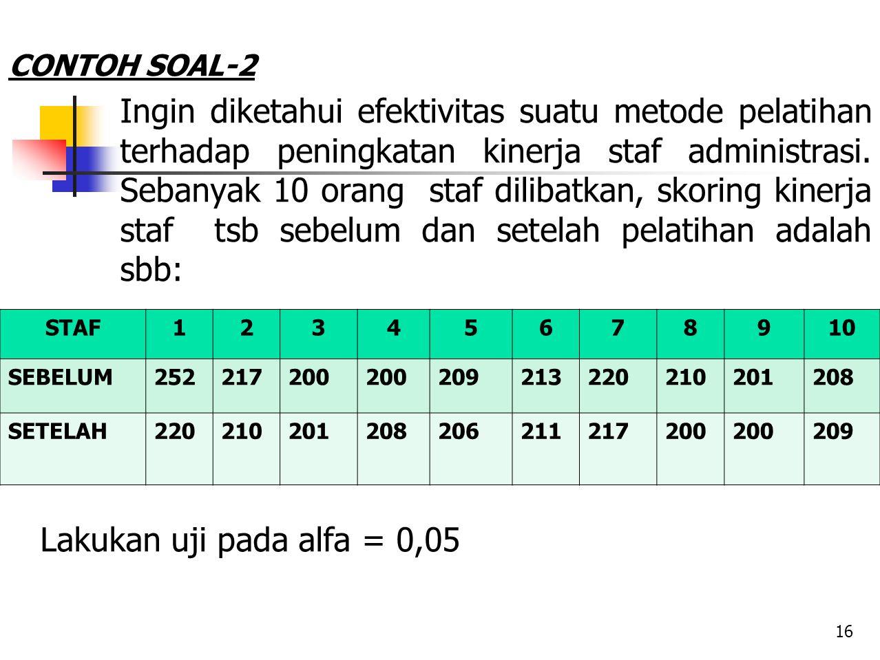 CONTOH SOAL-2 Ingin diketahui efektivitas suatu metode pelatihan terhadap peningkatan kinerja staf administrasi. Sebanyak 10 orang staf dilibatkan, sk