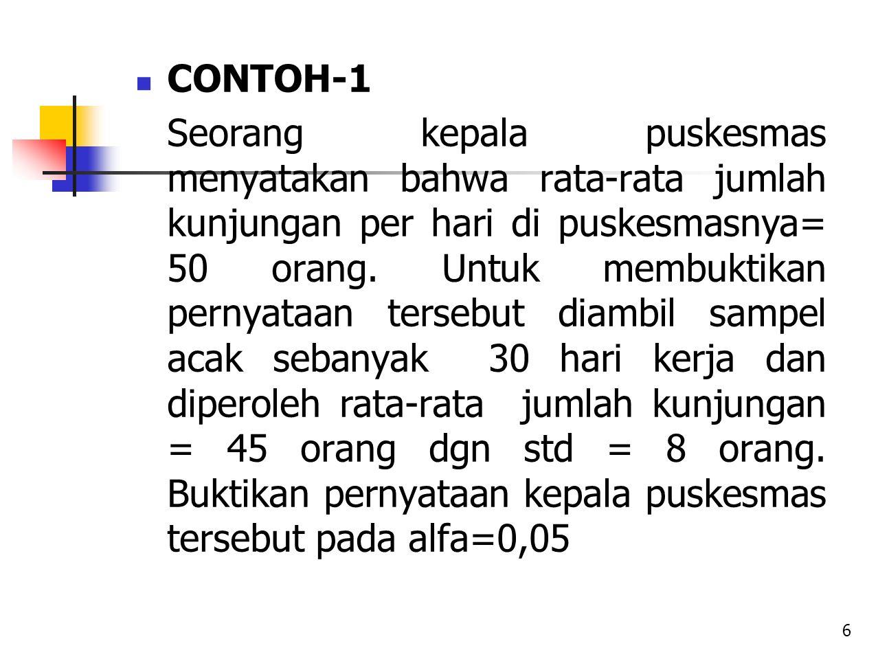 CONTOH-1 Seorang kepala puskesmas menyatakan bahwa rata-rata jumlah kunjungan per hari di puskesmasnya= 50 orang. Untuk membuktikan pernyataan tersebu