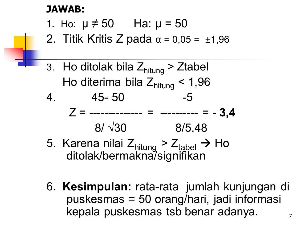 JAWAB: 1. Ho: µ ≠ 50 Ha: µ = 50 2. Titik Kritis Z pada α = 0,05 = ±1,96 3. Ho ditolak bila Z hitung > Ztabel Ho diterima bila Z hitung < 1,96 4. 45- 5