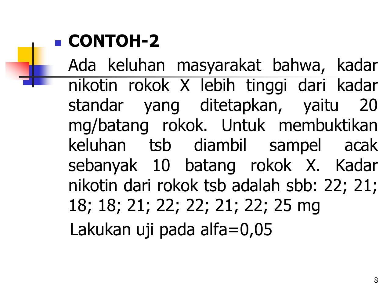 CONTOH-2 Ada keluhan masyarakat bahwa, kadar nikotin rokok X lebih tinggi dari kadar standar yang ditetapkan, yaitu 20 mg/batang rokok. Untuk membukti