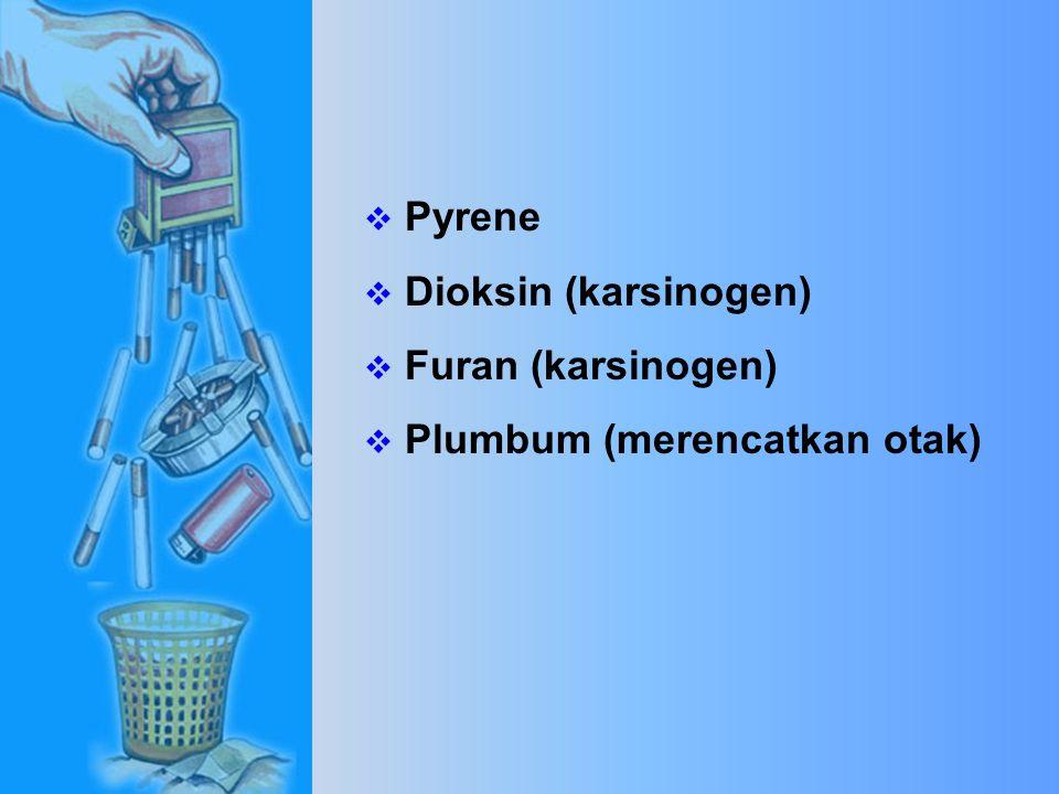  Cadmium (bateri kereta)  Vinyl Chloride (bahan asas plastik)  Dimethinitrosamine (karsinogen)  D.D.T (ubat pembunuh serangga)  Formaldehyde (bahan pengawet mayat)  Urethane
