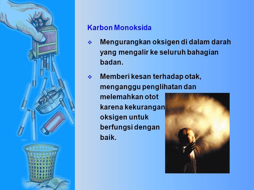 Bahaya bahan kimia yang terdapat dalam asap rokok terhadap kesehatan manusia.