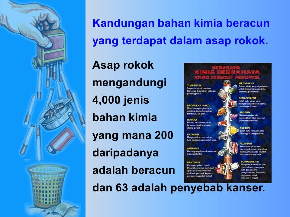 Kandungan bahan kimia beracun yang terdapat dalam asap rokok.