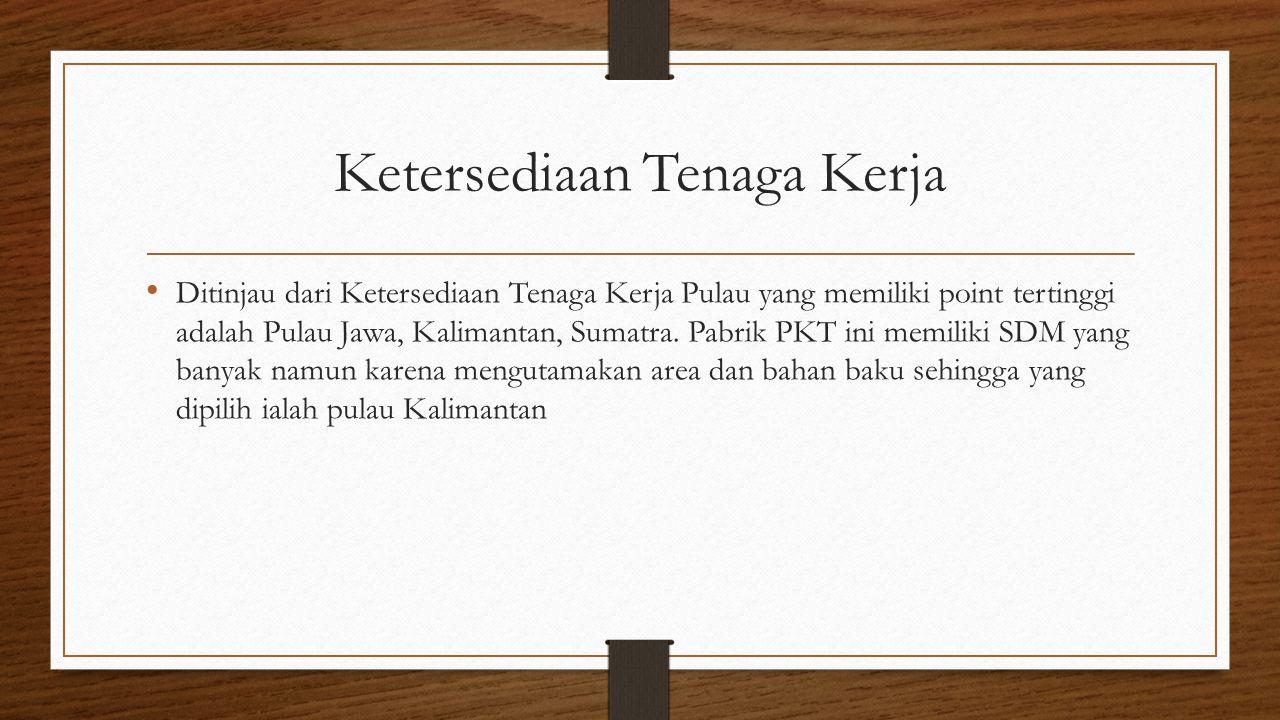 Ketersediaan Tenaga Kerja Ditinjau dari Ketersediaan Tenaga Kerja Pulau yang memiliki point tertinggi adalah Pulau Jawa, Kalimantan, Sumatra.
