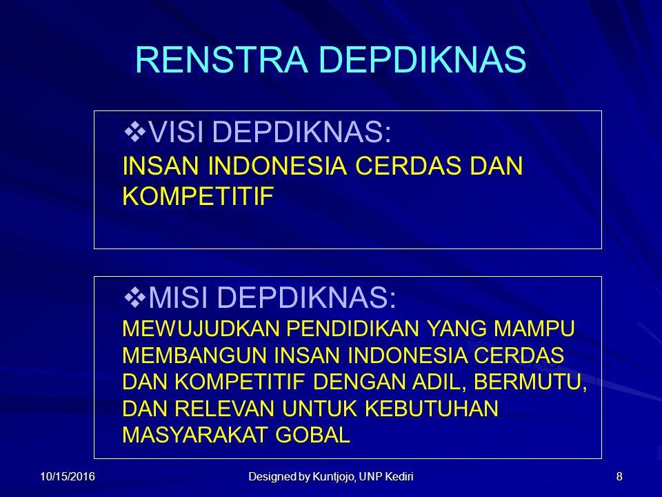 8 RENSTRA DEPDIKNAS  VISI DEPDIKNAS: INSAN INDONESIA CERDAS DAN KOMPETITIF  VISI DEPDIKNAS: INSAN INDONESIA CERDAS DAN KOMPETITIF  MISI DEPDIKNAS: MEWUJUDKAN PENDIDIKAN YANG MAMPU MEMBANGUN INSAN INDONESIA CERDAS DAN KOMPETITIF DENGAN ADIL, BERMUTU, DAN RELEVAN UNTUK KEBUTUHAN MASYARAKAT GOBAL  MISI DEPDIKNAS: MEWUJUDKAN PENDIDIKAN YANG MAMPU MEMBANGUN INSAN INDONESIA CERDAS DAN KOMPETITIF DENGAN ADIL, BERMUTU, DAN RELEVAN UNTUK KEBUTUHAN MASYARAKAT GOBAL 10/15/2016 Designed by Kuntjojo, UNP Kediri