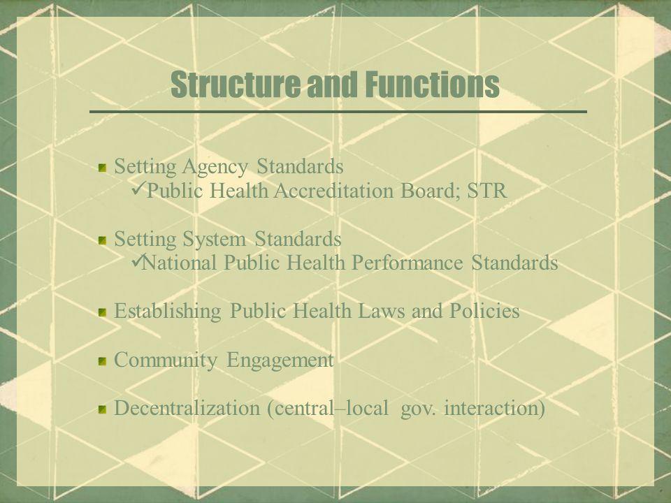 Structure and Functions Setting Agency Standards Public Health Accreditation Board; STR Setting System Standards National Public Health Performance Standards Establishing Public Health Laws and Policies Community Engagement Decentralization (central–local gov.