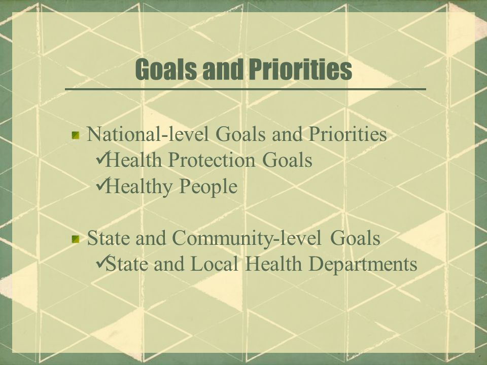Goals and Priorities National-level Goals and Priorities Health Protection Goals Healthy People State and Community-level Goals State and Local Health Departments