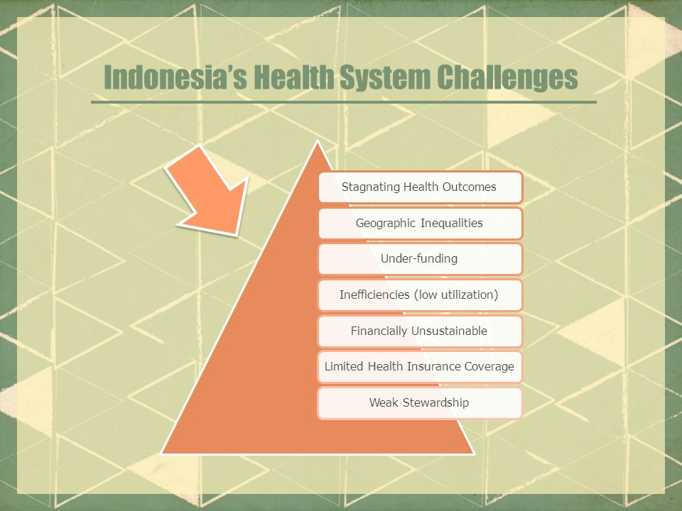 Indonesia's Health System Challenges Stagnating Health OutcomesGeographic InequalitiesUnder-fundingInefficiencies (low utilization)Financially UnsustainableLimited Health Insurance CoverageWeak Stewardship