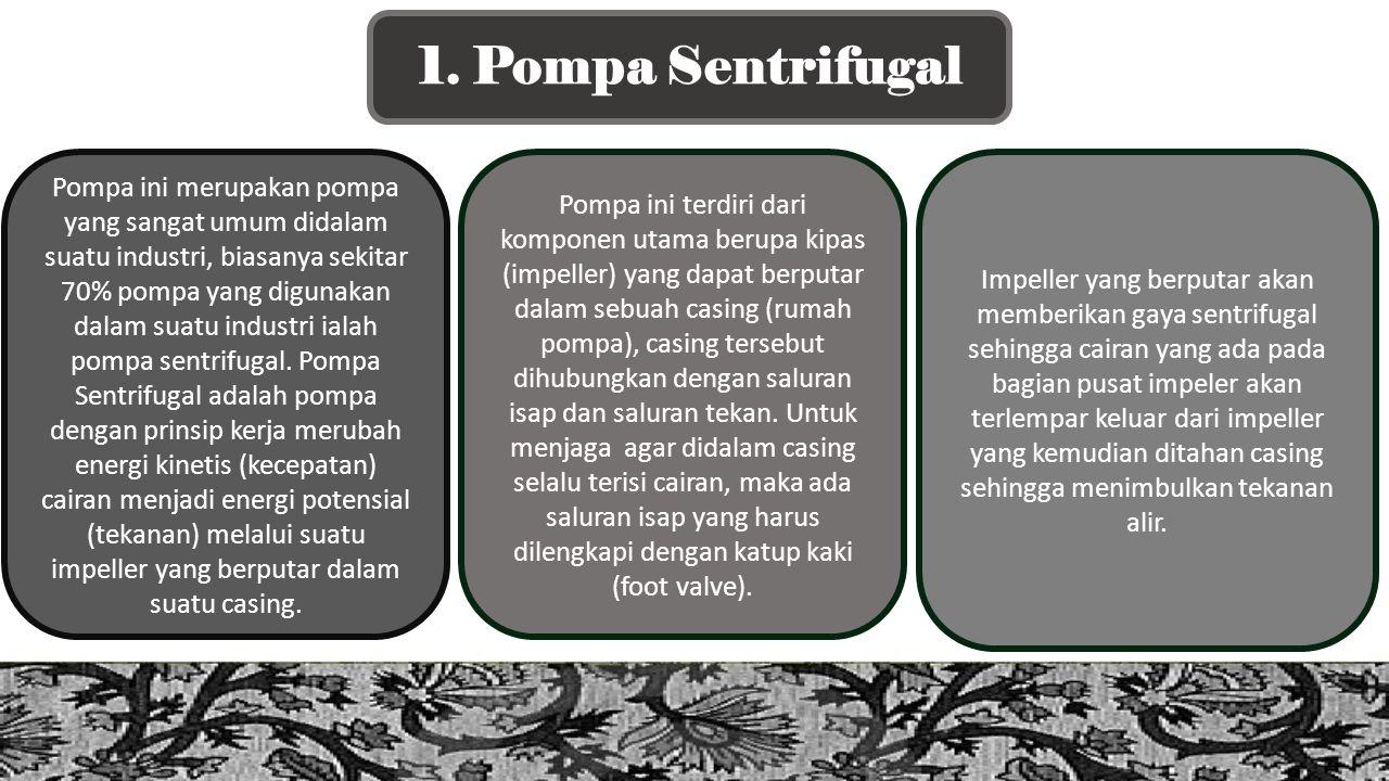 1. Pompa Sentrifugal Pompa ini merupakan pompa yang sangat umum didalam suatu industri, biasanya sekitar 70% pompa yang digunakan dalam suatu industri