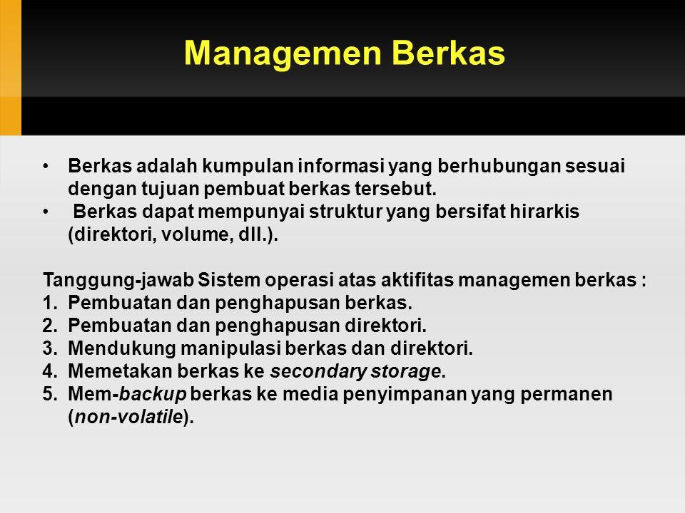 Managemen Berkas Berkas adalah kumpulan informasi yang berhubungan sesuai dengan tujuan pembuat berkas tersebut.