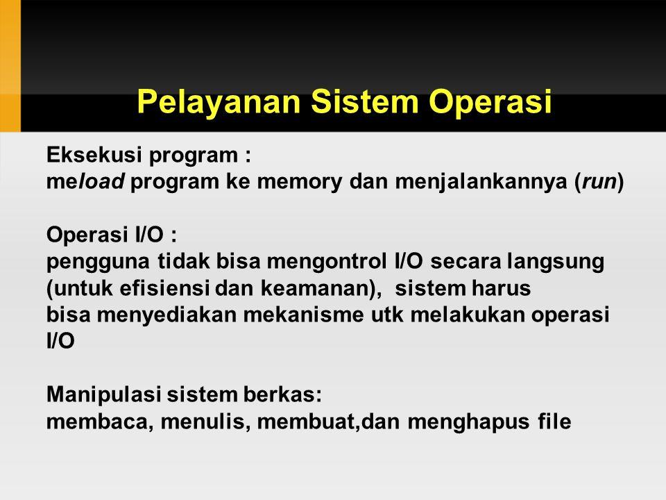 Pelayanan Sistem Operasi Eksekusi program : meload program ke memory dan menjalankannya (run) Operasi I/O : pengguna tidak bisa mengontrol I/O secara langsung (untuk efisiensi dan keamanan), sistem harus bisa menyediakan mekanisme utk melakukan operasi I/O Manipulasi sistem berkas: membaca, menulis, membuat,dan menghapus file