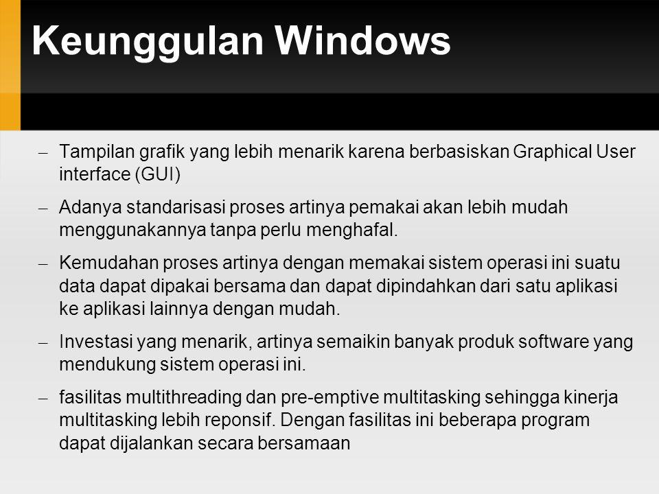 Keunggulan Windows – Tampilan grafik yang lebih menarik karena berbasiskan Graphical User interface (GUI) – Adanya standarisasi proses artinya pemakai akan lebih mudah menggunakannya tanpa perlu menghafal.