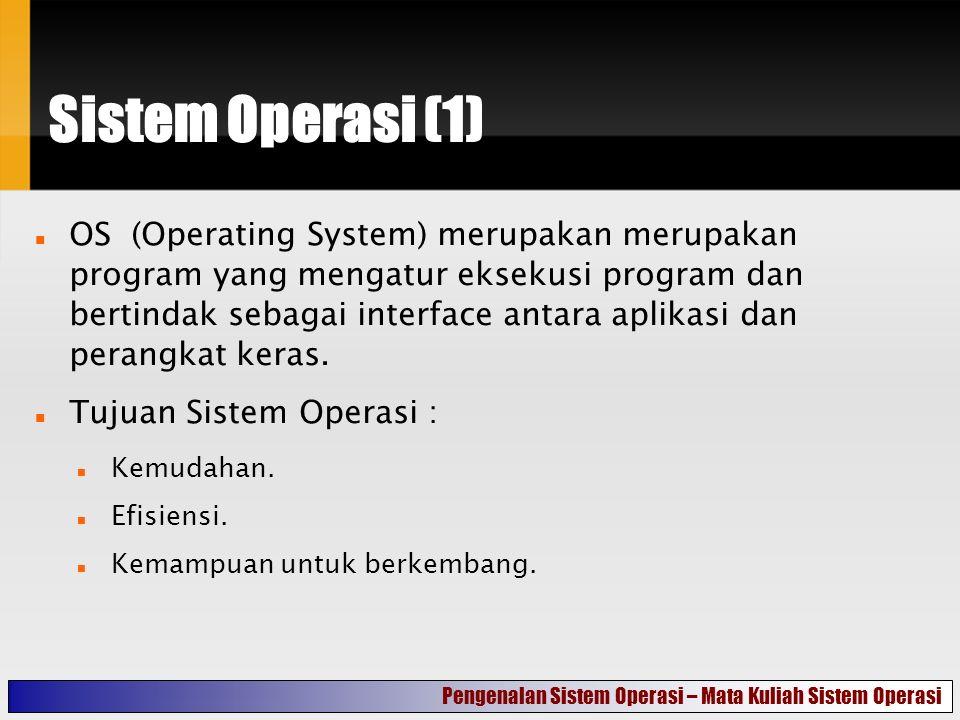 Sistem Operasi (1) OS (Operating System) merupakan merupakan program yang mengatur eksekusi program dan bertindak sebagai interface antara aplikasi dan perangkat keras.