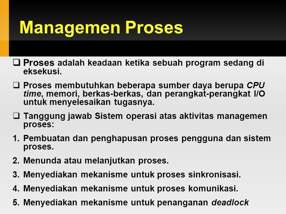 Managemen Proses  Proses adalah keadaan ketika sebuah program sedang di eksekusi.  Proses membutuhkan beberapa sumber daya berupa CPU time, memori,