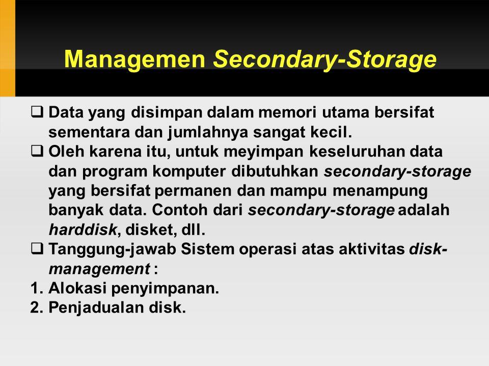 Managemen Secondary-Storage  Data yang disimpan dalam memori utama bersifat sementara dan jumlahnya sangat kecil.  Oleh karena itu, untuk meyimpan k