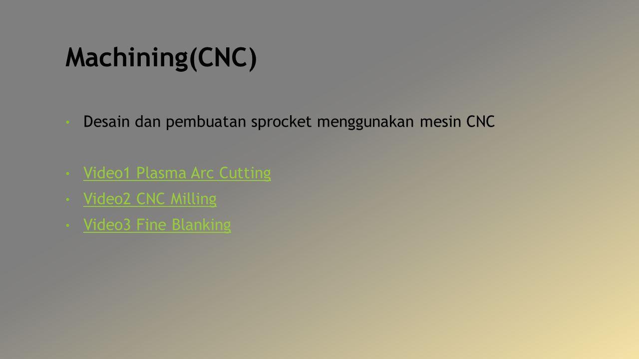 Machining(CNC) Desain dan pembuatan sprocket menggunakan mesin CNC Video1 Plasma Arc Cutting Video2 CNC Milling Video3 Fine Blanking